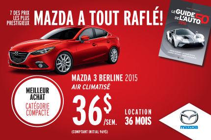 Mazda a tout raflé : Mazda 3 berline à 36$/semaine