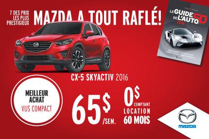 Mazda a tout raflé : Mazda CX-5 Skyactiv 2016 à 65$/semaine