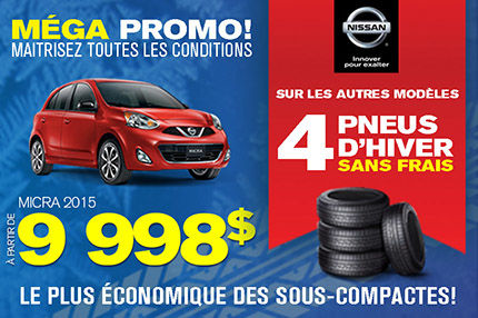 Mega Promo: Micra 2015 à 9998$