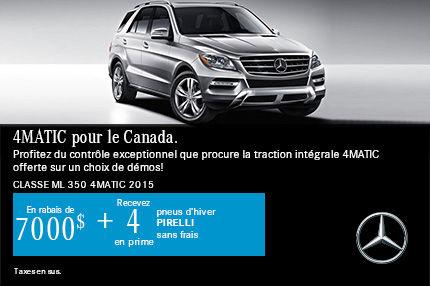 4MATIC pour le Canada: Classe ML 350 4MATIC 2015