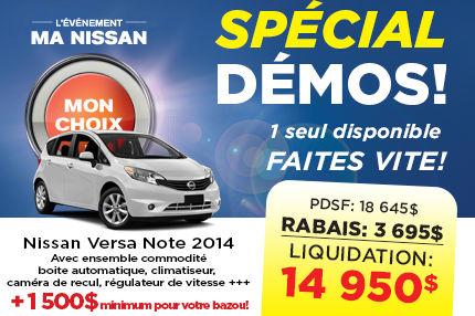 La Nissan Versa Note démo 2014 à seulement 15 830$