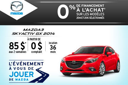 Louez la Mazda3 2014 à seulement 85$ aux 2 semaines