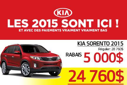 Liquidation des Kia Sorento 2015 à compter de 24 760$