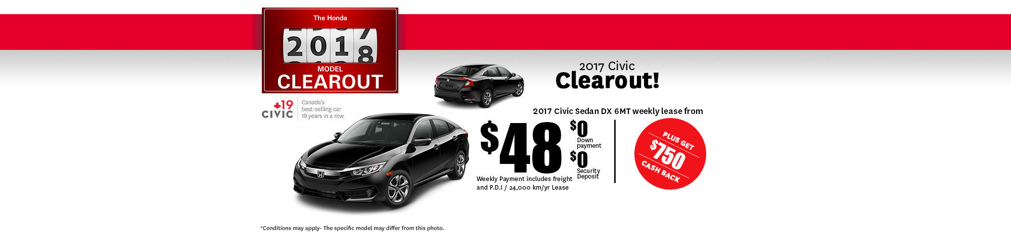 2017 Honda Clearout Civic - October