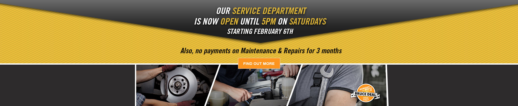 Service Departement New Opening Hours