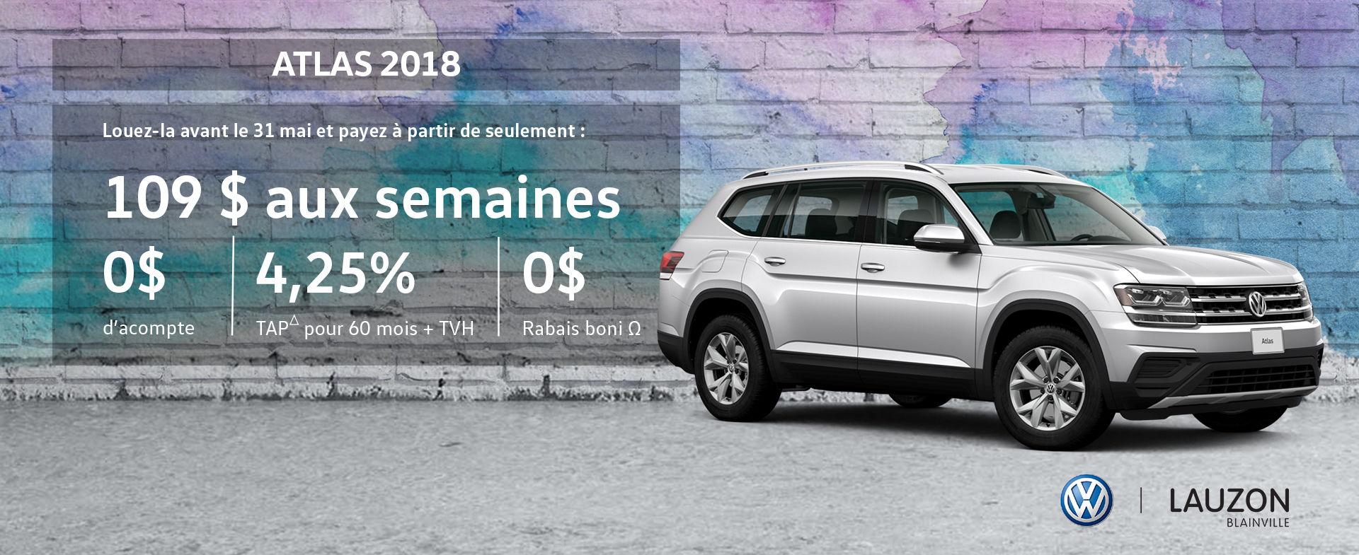 Promotion mai 2018 Volkswagen Atlas VW Lauzon Blainville