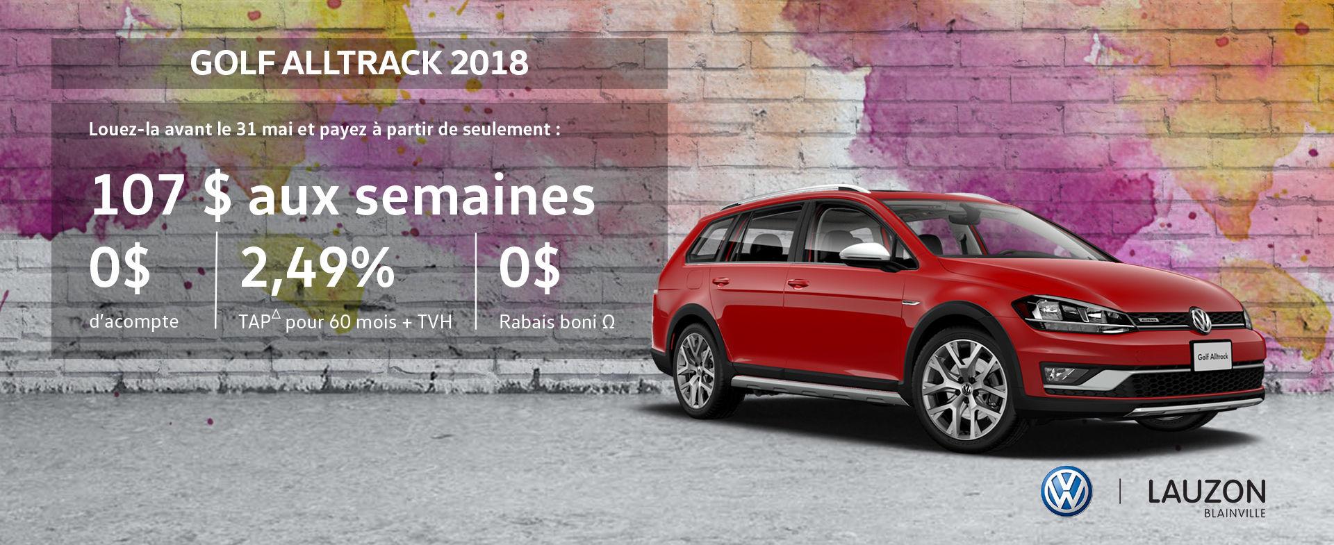 Promotion mai 2018 Volkswagen Golf Alltrack VW Lauzon Blainville