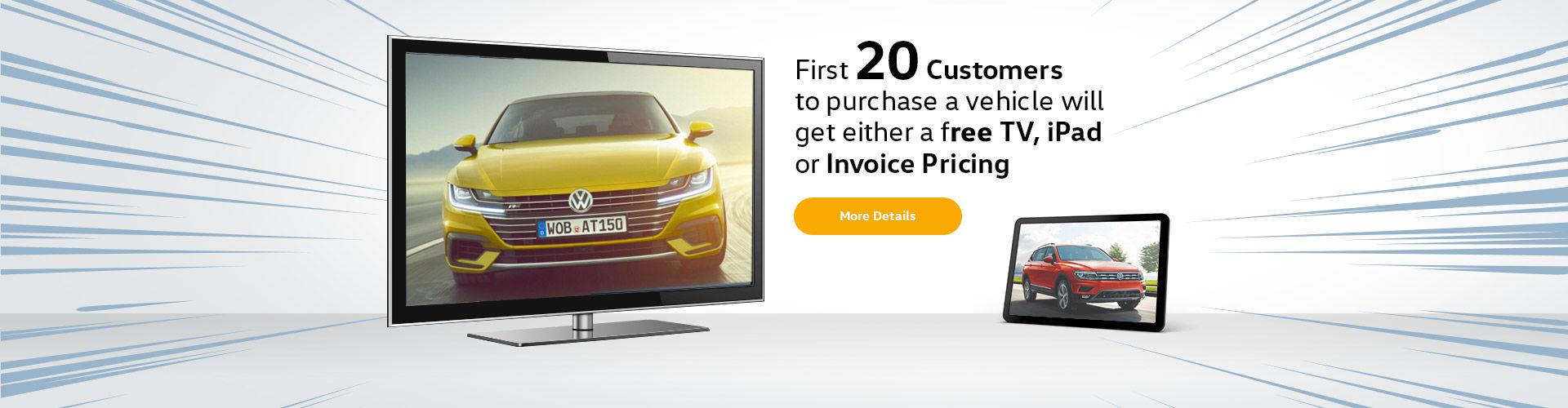 Free TV, iPad  or Invoice Pricing