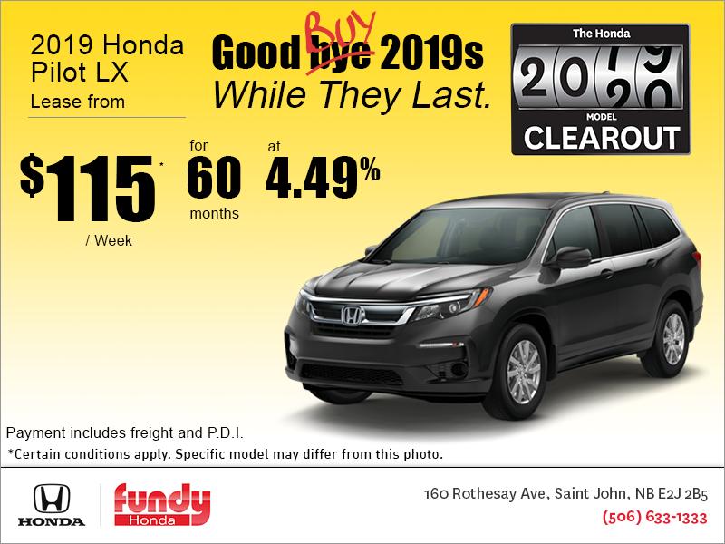 Honda Pilot Lease >> Lease The 2019 Honda Pilot Fundy Honda