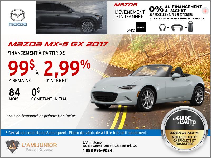 Obtenez la Mazda MX-5 GX 2017