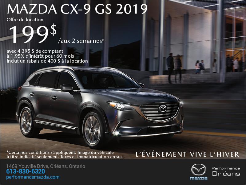 Procurez-vous le Mazda CX-9 2019 aujourd'hui! chez Performance Mazda à Ottawa