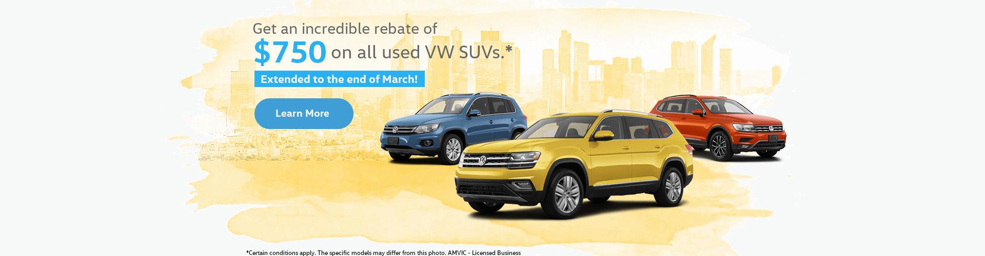 $750 off all Volkswagen SUVs