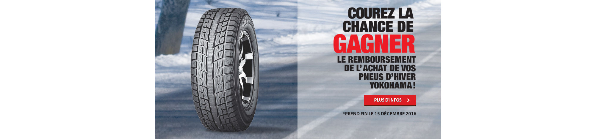 Courez la chance de gagner le remboursement de l'achat de vos pneus