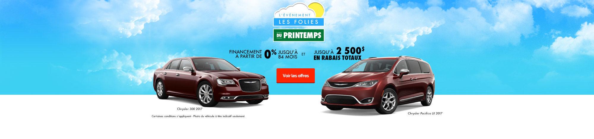 L'événement les folies du printemps de Chrysler!