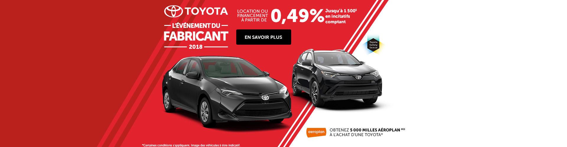 L'événement du fabricant de Toyota