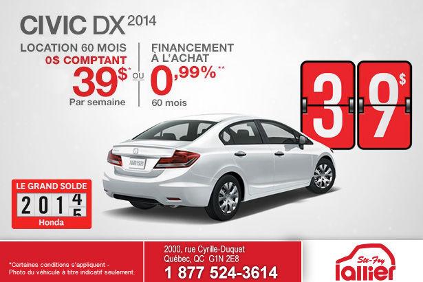 Louez une Honda Civic DX 2014 à la semaine à 39$