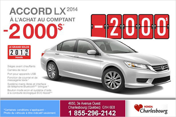 Rabais de 2000$ sur la Honda Accord LX 2014