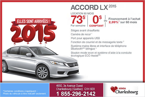 Louez le Honda Accord LX MT 2015 à 73$ par semaine