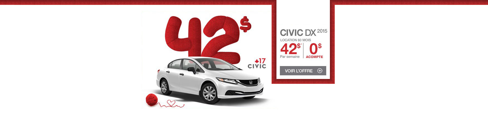 Louez votre Honda Civic DX 2015 à partir de 42$ par semaine