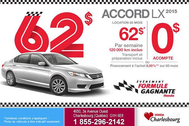 Louez le Honda Accord LX MT 2015 à 62$ par semaine