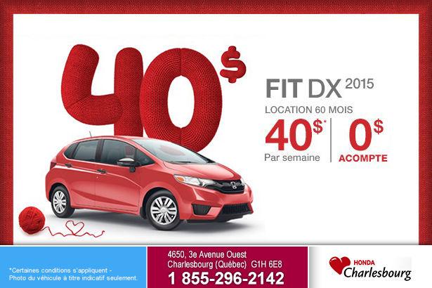 Location de la nouvelle Honda Fit DX 2015 à 40$ par semaine
