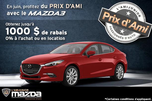 Prix d'ami avec le Mazda3 2017