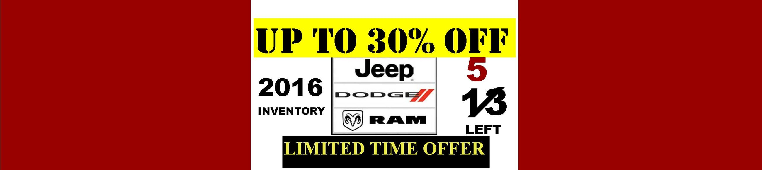 30% off 2016 Inventory