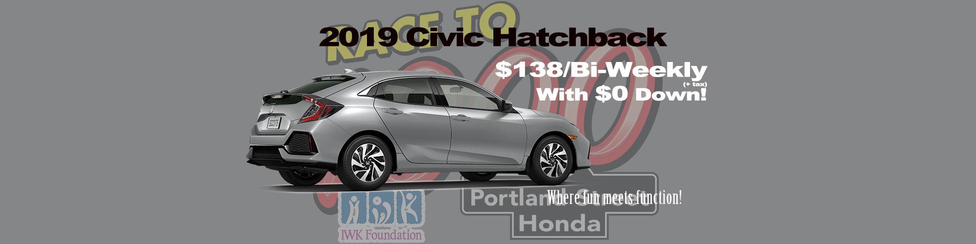 Honda Civic Hatchback $138/Bi-weekly