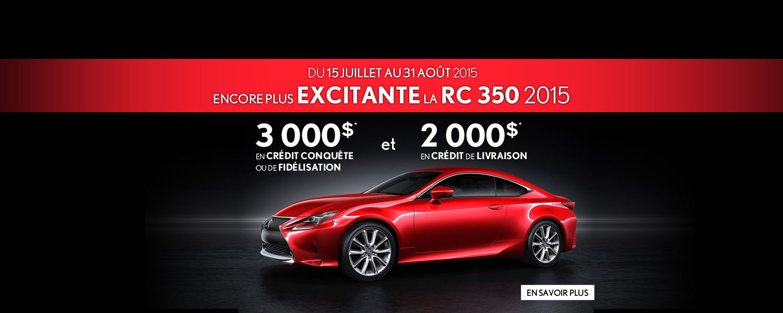 Encore plus excitante la Lexus RC 350 2015 - 3 000$ de crédit Conquête ou de fidélisation