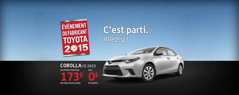 Toyota Corolla 2015 - Événement du fabricant 2015