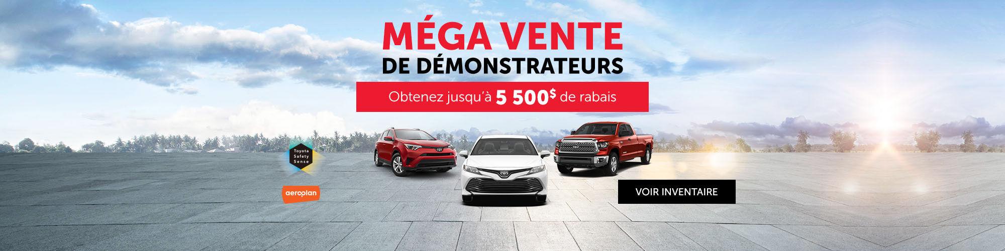 Méga vente de démonstrateurs Toyota