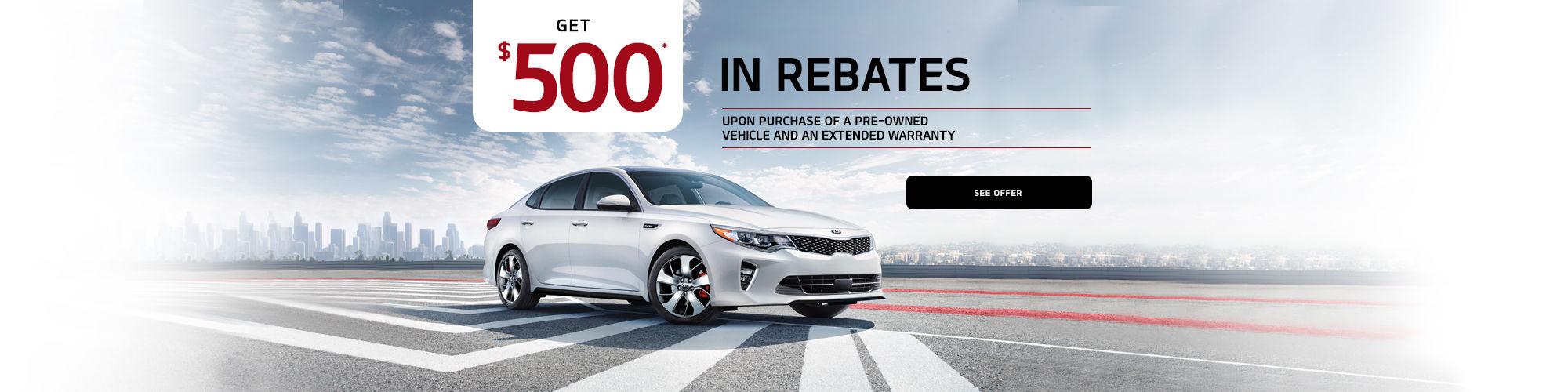 Kia $500 rebate on re-owned vehicles