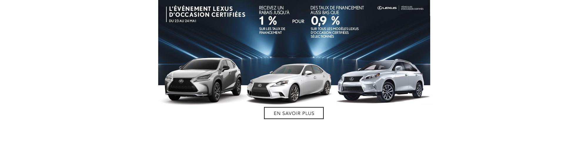 L'Événement Lexus d'occasion certifiés