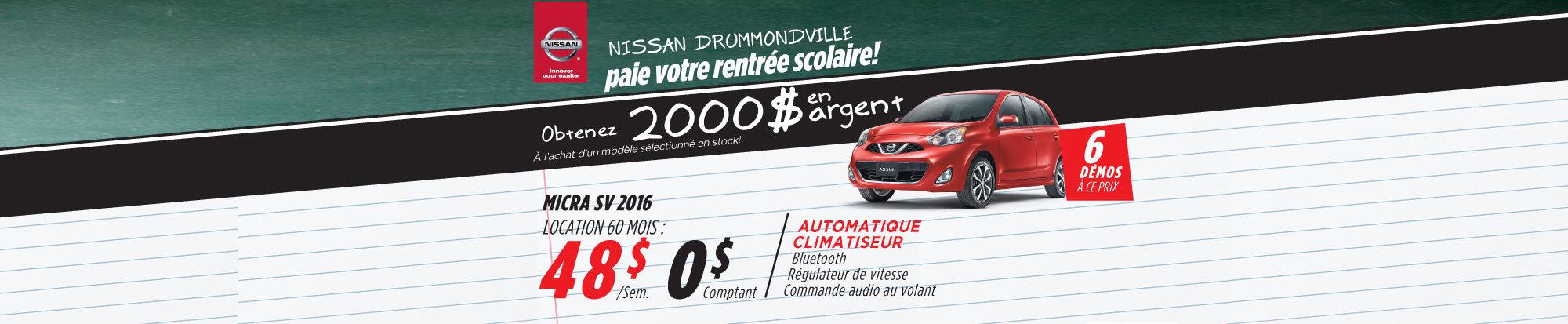 La Nissan Micra 2016 à petits prix Drummondville