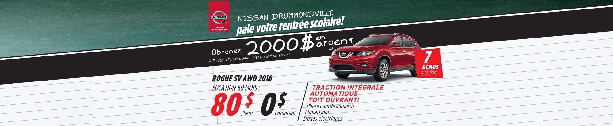 La liquidation top chrono de Nissan - Rogue 2016 drummondville