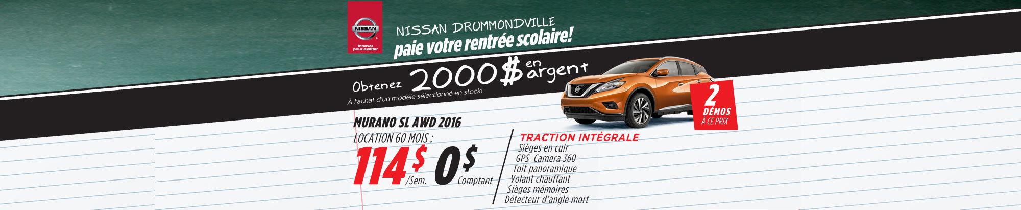 La liquidation top chrono de Nissan: Murano 2016 Drummondville