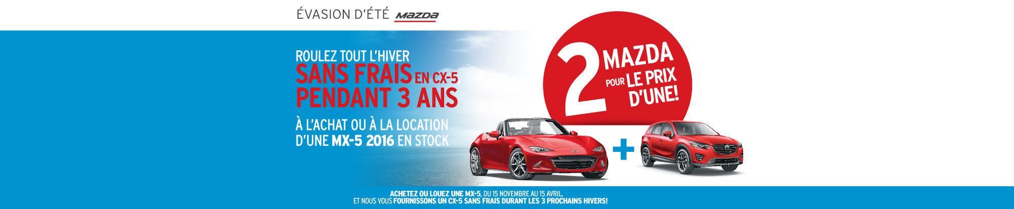 2 Mazda pour le prix d'une