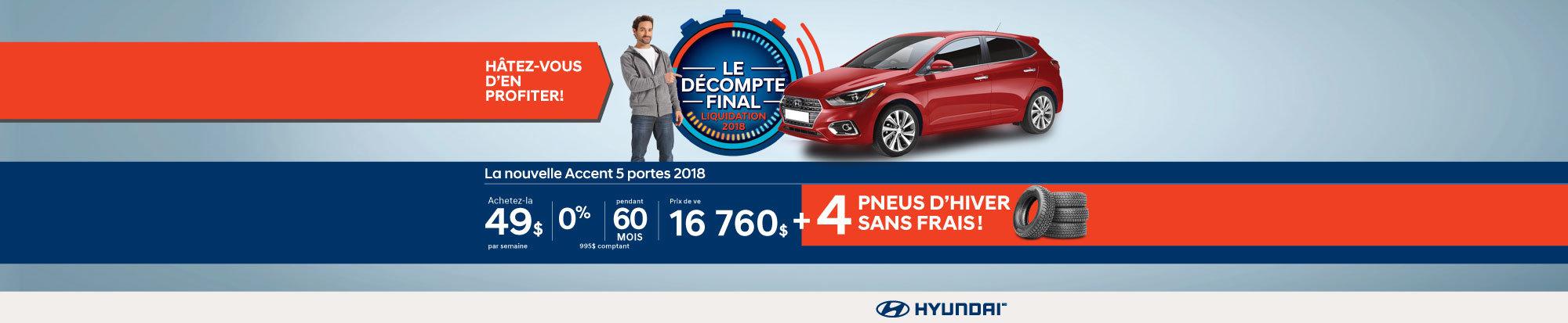 Ne manquez pas le DÉCOMPTE FINAL sur l'Accent 2018 chez Hyundai Magog! web