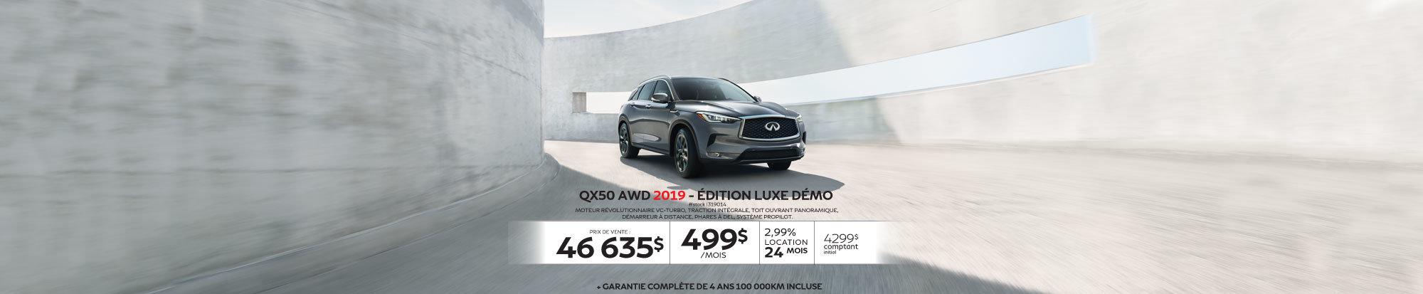 QX50 AWD 2019 édition LUXE Démo web