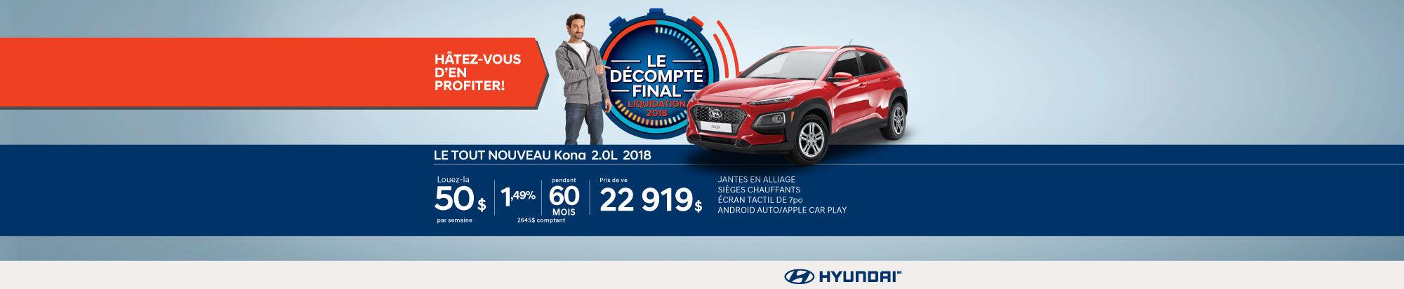Ne manquez pas le DÉCOMPTE FINAL sur le Kona 2018 chez Hyundai Magog! web