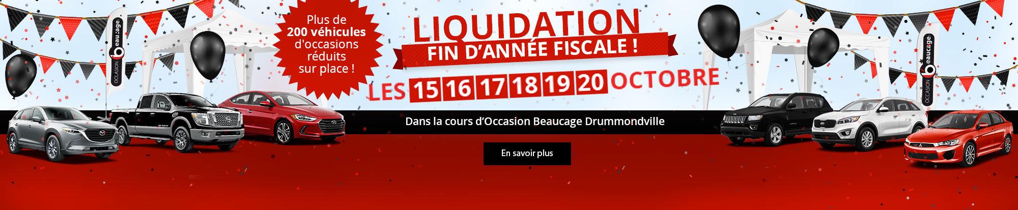 Liquidation fin d'année fiscale à Drummondville!