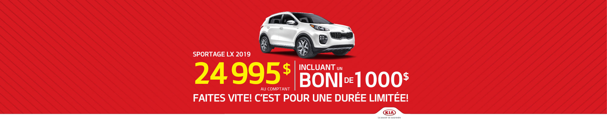 Le Sportage LX 2019 - Boni de 1 000$ inclus! (HEADER)