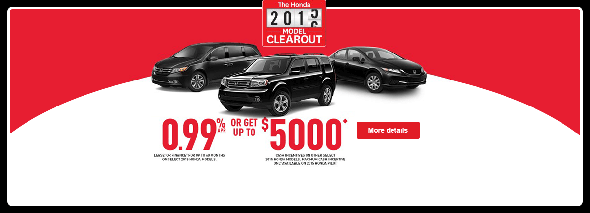 Honda 2015-2016 Model Clearout - August