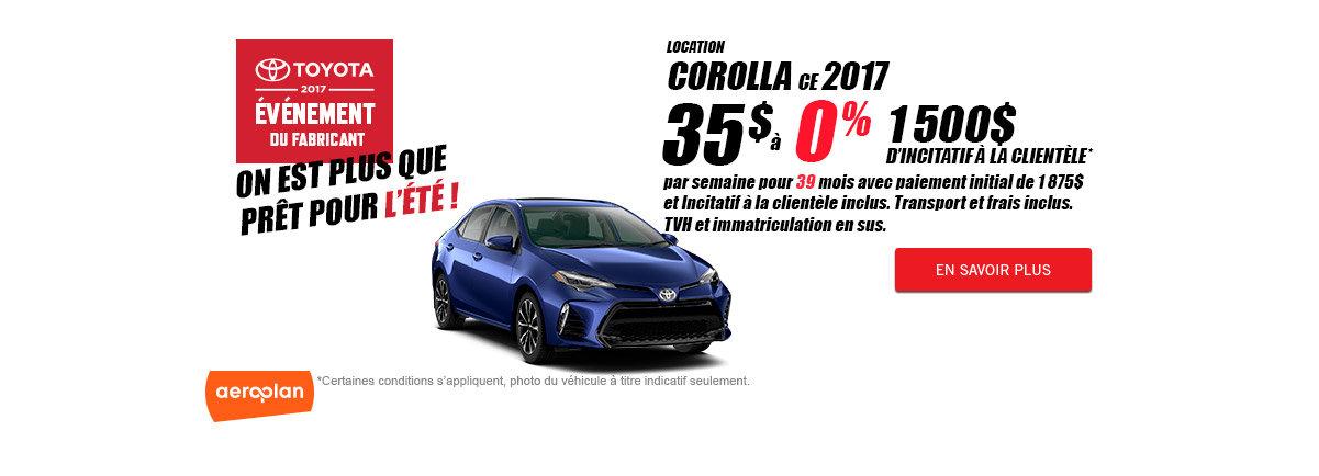 Toyota 2017 événement du fabricant - Corolla