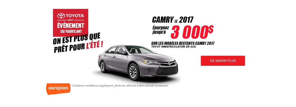 Toyota 2017 événement du fabricant - Camry