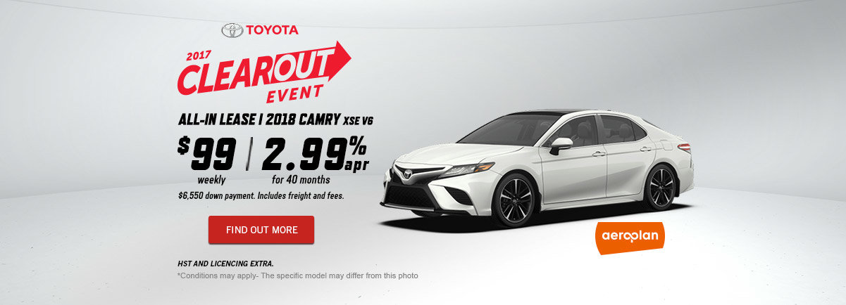 2017 Toyota Clearout Event - October - Camry