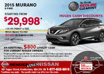 Save on a brand-new 2015 Nissan Murano today!