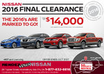 Nissan's 2016 Final Clearance Event!