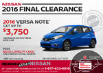 Drive Home the All-New 2016 Nissan Versa Note Today!