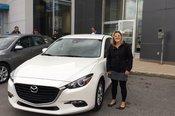 Félicitations Madame Levasseur pour votre achat du Mazda3 2017
